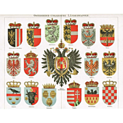 Austro-Hungarian Countries Coats of Arms. Decorative Chromo lithograph. 1902