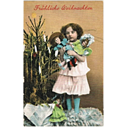 Girl with 3 Dolls. Vintage Xmas Postcard 1910