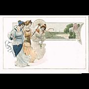 Attractive Art Nouveau Postcard with 3 Pretty Ladies.
