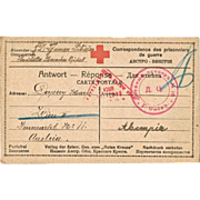 Russian Red Cross Postcard from Siberian POW Camp 1916
