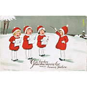 Cute New Years Postcard with Singing Girls