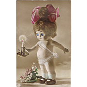 SALE PENDING Vintage Postcard Doll with movable Eyes