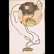 Raphael Kirchner Postcard Incense Burner and Girl