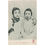 Chinese Vintage Postcard. Peking: Young Tartar Girls.