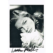 SOLD Lauren Bacall: Authentic Autograph on 1990 Artist Postcard, France