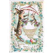 Easter Greeting Postcard with 2 Bunnies. Litho. 1906