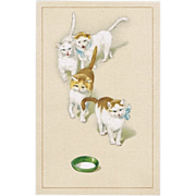 Cute Vintage Postcard with Cats, Lithographed