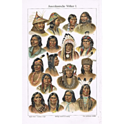 SOLD American Peoples, Indians: Two Decorative Chromo Lithographs, 1900