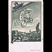 SOLD Old funny Krampus Postcard, Angel with Bike and Krampus