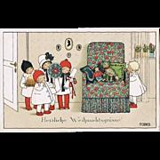 Pauli Ebner Postcard Xmas Greetings. Girls, Doll, Pet