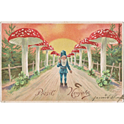 Charming New Years Postcard with Fly Agaric and Dwarf