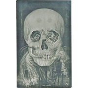 SOLD Pierrot and Columbine in Shape of Skull Postcard
