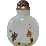 Very decorative Chinese Agate Snuff Bottle, Cameo, Ducks