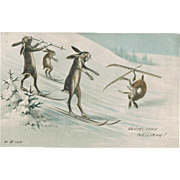 Funny New Years Postcard with Bunnies Skiing