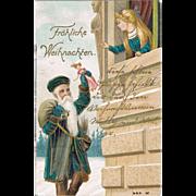 Christmas Postcard with Santa bring a Doll