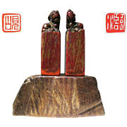 Pair of Chinese leisure Seals Shou Shan Stone with Foo Lions as Handle