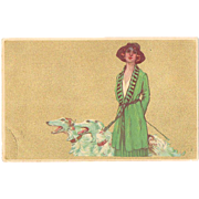 Italian Art Nouveau Postcard Lady  with Greyhounds