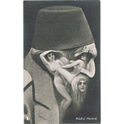 Abdul Hamid Portrait made of Nudes on Vintage Postcard