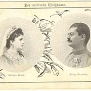 SOLD Alexander, King of Serbia and Draga, the Queen. Old Postcard