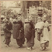 Peek-a-boo, Japan. Old Stereo Photo from 1901
