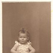 Baby Girl with Teddy Bear. Old Photograph