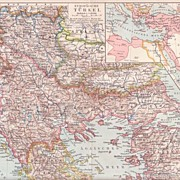 1900: European Turkey. Antique Map.