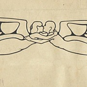 Authentic Art Nouveau Drawing by Austrian Artist. The Kiss.