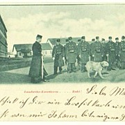 Austrian Militia Exercising. Soldiers and Dog.