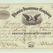 1858, Phoenix Insurance Company. Decorative Stock Certificate