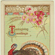Thanksgiving Greetings. Vintage Postcard with Turkey.