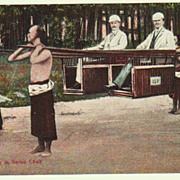 Travelling in Sedan Chair. Old China Postcard.