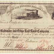SOLD 1857: Baltimore and Ohio RR Co Stock Certificate Israel Cohen signed.