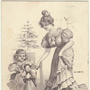 1901: Season Greeting Postcard with Large Doll. Artist signed.