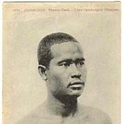 Old Cambodia: Man from Phnom Penh. Vintage Postcard, ca. 1910
