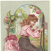 Sweet Ad for Cooking Fat. Girl with Roses. Ca. 1910