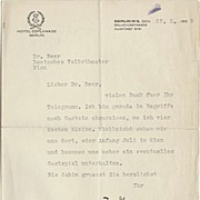 Emil Jannings Letter from 1929 to Dr. Beer. Hand signed. CoA