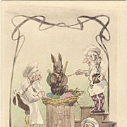 Funny Easter Postcard with Gnomes. Art Nouveau. 1916