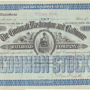 The Cincinnati, Washington and Baltimore RR Co. Stock Certificate, 1883. Orland Smith signed.