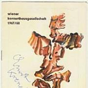 Composer Ernst Krenek Autograph: Hand-signed Program 1968