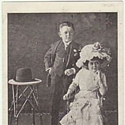 SOLD Lilliputian Couple. Vintage Postcard from 1912.