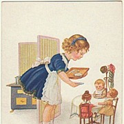 Private Lunch Table: Girl feeding her Dolls. Vintage Postcard