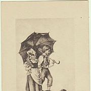 Vintage Postcard with Sausage Dog. App. 1910