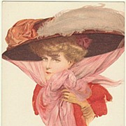Art Nouveau Postcard: Lady with Hat. Fine Lithograph.