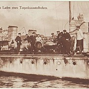 WWI: German Torpedo Cruiser. Photo-Postcard. Crew loading Canon