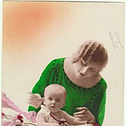 Art Deco: Tinted Photo. Lady with Baby. 1926