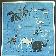 Handkerchief from the 1940-50s: Wild Animals and Black Kids.