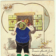 SOLD Funny Postcard, Couple kissing, Special Technique. 1900