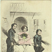 Happy New Year: Tinted Postcard with Kids. 1904