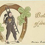 Embossed New Years Postcard. Chimney Sweeper. 1901