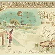 Dwarf and Pigs: Vintage New Year's Postcard, 1902